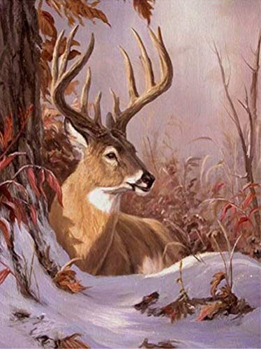 LPRTALK DIY 5D Diamond Painting by Number Kit for Kids Adults, Full Round Drill Diamond Art Embroidery Dotz Kit Cross Stitch Mosaic Making Arts Craft for Wall Decor Elk Deer in Snow 12X16 inches