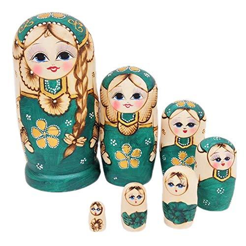 lingzhuo-shop 7 Piezas Matrioskas para Niños Madera Muñecas Rusas Infantiles Creativas Trenzas Verdes Hechas A Mano Conjunto De Juguetes Que Desean Artesanías De Muñecas Rusas