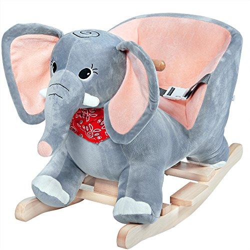 Deuba Balancín Mecedora Elefante a báscula con Sonido Juguete Estructura de Madera cinturón de Seguridad Peluche niños