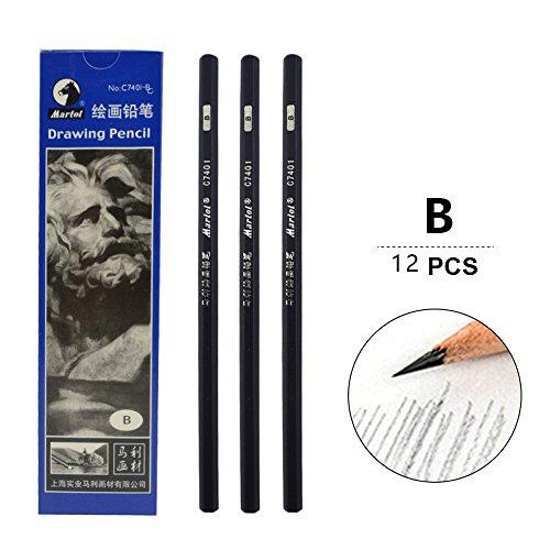 Sketch pencils, art paintings, wooden pencils, professional pencils, 12 pcs (B)