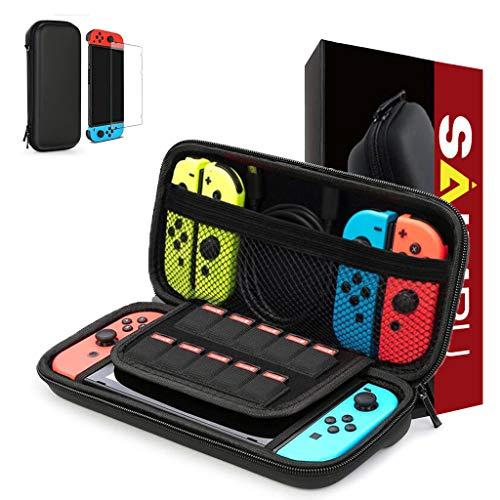 SAIMPU Goods Tasche für Nintendo Switch, Harte Tragetasche Hülle Case für die Nintendo Switch, Schutzhülle mit Aufbewahrung für 10 Spiele, Konsole & Zubehör (Schwarz)