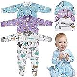 Lictin Strampler Baby Strampler Babykleidung Strampler Junge Schlafstrampler Baumwolle mit Baby Mütze für Neugeborene 0-3 Monate, Mädchen, 0-3 Monate