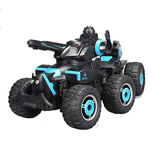 Darenbp Juguete RC para niños Rc Bigfoot disparo de coches de juguete de 2,4 GHz de control remoto de coches de gran tamaño del tanque de carga de seis ruedas todo terreno Escalada carro 4WD 360 ° tru