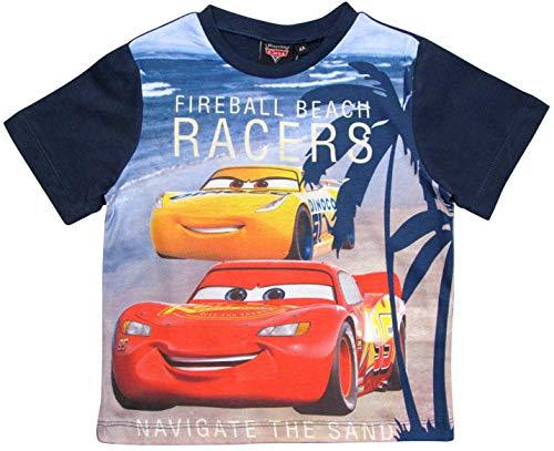 Cars Disney 3 T-Shirt Kurz Lightning McQueen Jungen (Blau, 122-128)