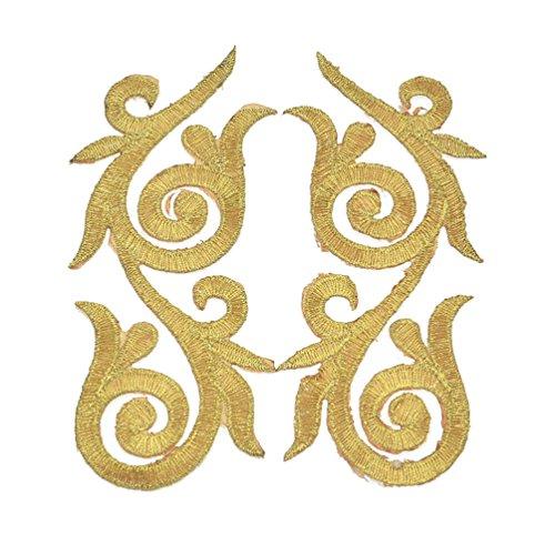 Kesheng - 5 pares de parches bordados con flores doradas para planchar o coser