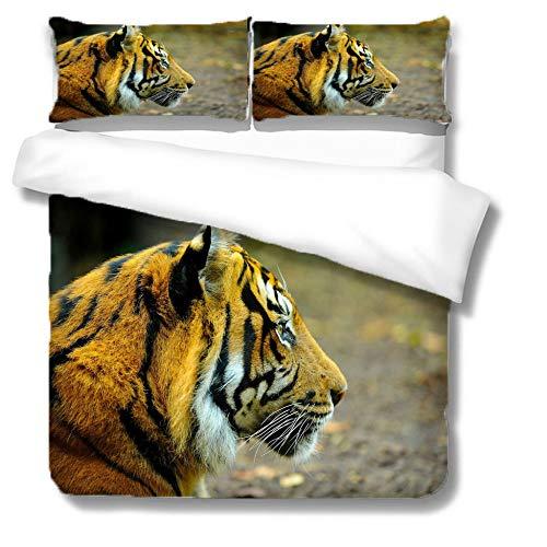Bettbezug Set,Home Textile 3D Tiger Print Bettwäscheset Weiche, Bequeme Bettbezug Leichte, Atmungsaktive, Versteckte Reißverschlüsse Single Double King Super King, Single (140X210Cm)