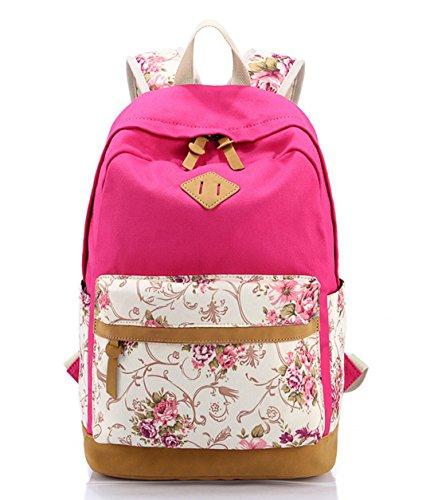 DNFC Schulrucksack Canvas Rucksack Mädchen Teenager Schulranzen Blumen Freizeitrucksack Mode Kinderrucksack Fashion Damen Daypack Backpack Schultaschen (Rose Rot)