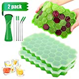 Ice Cube Trays with Lids - LeeHoop 2 Pack 74-Ice Trays Food Grade BPA Free Silicone Flexible Ice Cube Molds, for Chilled Drinks, Whiskey, Cocktail (Green with Stainless Steel Straws)
