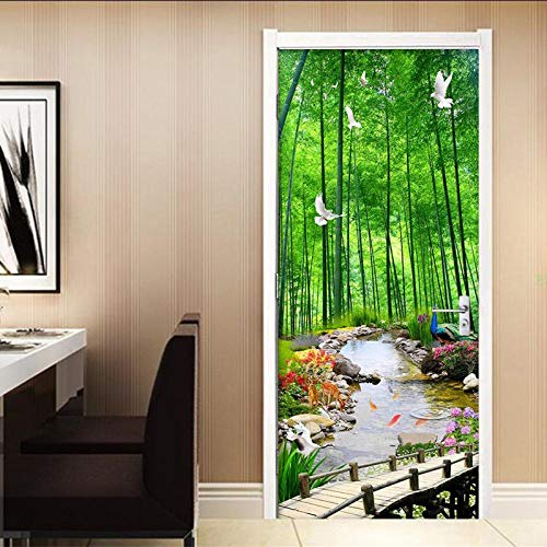 3D Deurfolie Deurfolie Groene Bamboe Bos Schilderen Deur Sticker Interieur Woonkamer Keuken Waterdichte Pvc Zelfklevende Deur Sticker Behang 3 D-95X215Cm