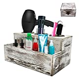 Wooden Hair Dryer Holder - White Grooming Tool Caddy with Rustic Natural Wood Pattern - 3 Holes for Curling Iron, Blower and 1 Compartment for Styling Products - With Magnetic Jewelry Box (White)