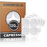 CAPMESSO Filtros Cápsulas de Café compatibles con Nespresso+ Tapas de Papel de Aluminio Autoadhesivas (Color plata)