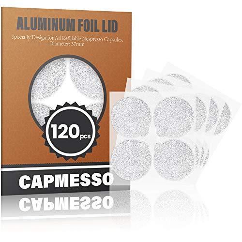 CAPMESSO Selbstklebende Aluminiumfolie Wiederverwendung von mit Nespresso kompatiblen Espressokapseln - Einfache Befüllung Ihrer eigenen Kapseln mit unserem Siegeldeckelaufkleber 120 / Paket(Silber)