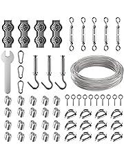 Ruesious Kit de Cuerda de Acero Inoxidable, Kit de Luces para Exteriores, Kit de Suspensión de Cuerda, Cable de Cable de 30m con Tensor y Ganchos, Cable de Acero Inoxidable Nylon