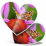 Impresionante 2 pegatinas de corazón de 15 cm – Vanessa Cardui Bonita mariposa divertida calcomanías para portátiles, tabletas, equipaje, libros de chatarras, neveras, regalo genial #14234
