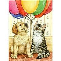 5D DIY猫と犬とバルーンダイヤモンド絵画フルドリル刺繡クロスステッチモザイククラフトキット家の装飾クリスマスギフト(正方形40x50cm)