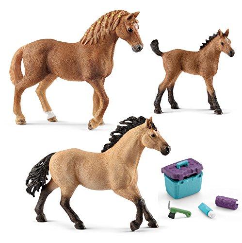 Schleich Quarter Horse Familie (13852 + 13853 + 13854) + 42366 Pferdepflege