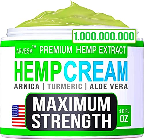 Instant Hemp Cream 4 fl oz - for Knees, Joints, Lower Back - Natural Hemp Oil Extract Gel with MSM - Glucosamine - Arnica - Turmeric - Made in USA