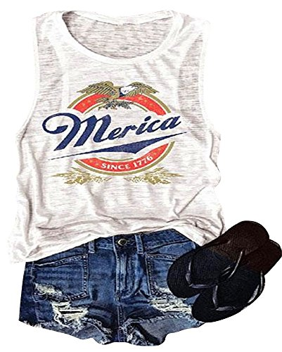 Erxvxp Women Tank Tops Sleeveless Merica Since 1776 Racerback T-Shirt Vest for Independence Day (White, X-Large)