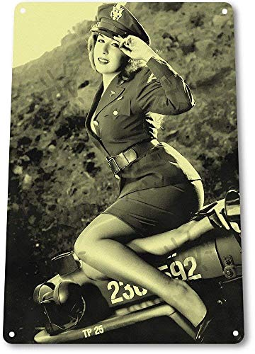 HONGXIN Jeepers Hot Pin-up Girl WW2 Army Military Vintage Metal Tin Sign para el hogar, bar, bar, garaje, decoración, regalos, banda, cerveza, huevos, café, supermercado, granja, jardín, dormitorio