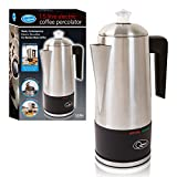 Quest 35200 Stainless Steel Cordless Electric Coffee Percolator with Integrated Filter, 1.5 Litre, 1100 W, Silver, 21 x 33 x 14cm, 1000 W, 1.8 liters