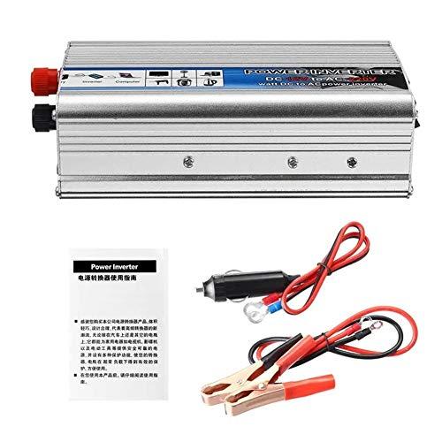 N\A Coche inversor de energía USB de Onda sinusoidal modificada del convertidor de energía del Coche del inversor y Cargador Solar Inverter DC de 12V a 220V AC (Color : Silver)