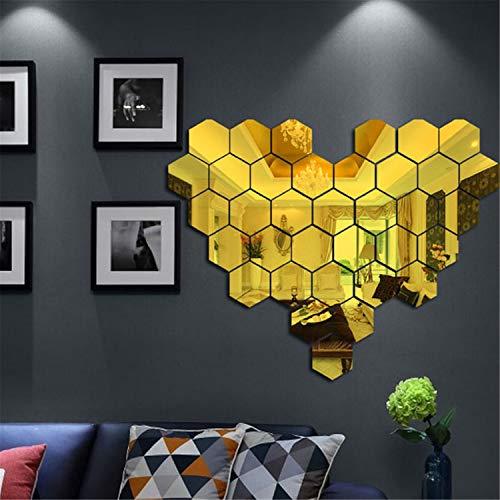 Pared Pegatina Espejo Efecto Fondo de pantalla Acrílico 3D Hexagonal Vendaje Espejo Rompecabezas Calcomanía Autoadhesivo Murales Personalizado Fondo Decoración Arte (50 piezas, Dorado(8 * 7 * 4 cm))