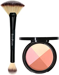 EVE PEARL Ultimate Face Compact And 204 Dual Fan Highlighter Brush Blush Highlighter Contour Eyeshadow Set Makeup Palette Light to Medium- Timeless