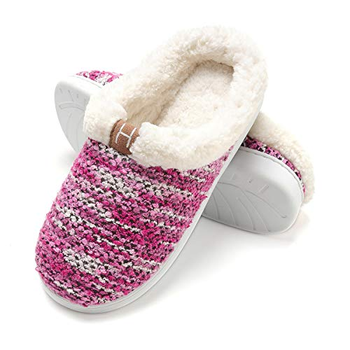 Zapatillas de casa Mujer, Forro algodón, Ultraligero cómodo y Antideslizante, Pantuflas de casa para Mujer, Magenta, 40/41 EU