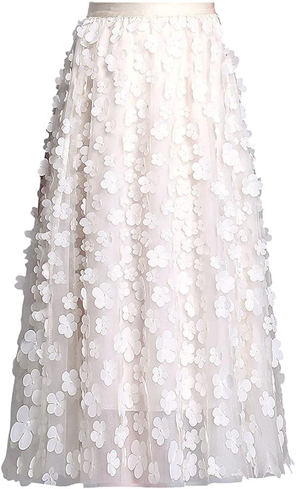 ATHX Women's Applique Embroidery Elastic High Waist A-Line Tulle Floral Mesh Midi Skirt