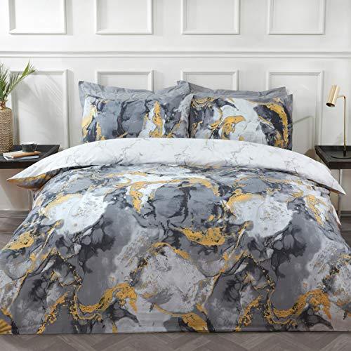 Sleepdown Juego de Cama edredón y Fundas de Almohada (200 x 200 cm), diseño de mármol metálico, Color, Polialgodón, Carbón Gris Blanco, Doublé