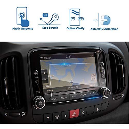 LUOERPI 2PCs Coche GPS Navegación Pantalla táctil Pantalla 9H Vidrio Templado Protector de Pantalla Película Protectora de Pantalla, para Fiat 500L Uconnect 2014-2018