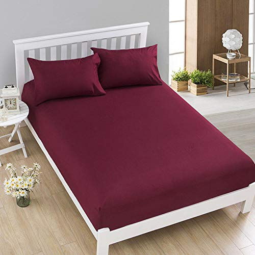 HPPSLT colchón Acolchado, antialérgico antiácaros, Funda para sábana Antideslizante-Burgundy_135 * 200cm