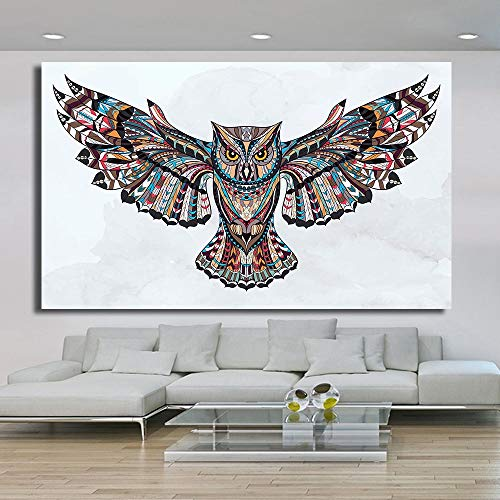 Sanzangtang Moderne dierfoto's canvas schilderij uilenvleugels poster woonkamer decoratie wandafbeelding zonder lijst