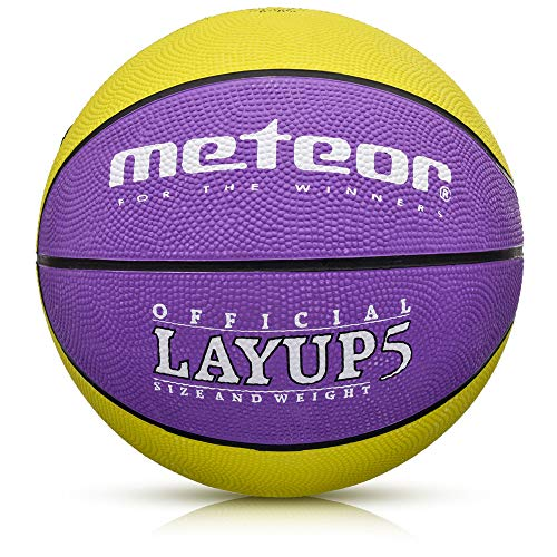 meteor® Layup Kinder Mini Basketball Größe #5 ideal auf die Jugend Kinderhände von 4-8 Jährigen abgestimmt idealer Basketball für Ausbildung weicher Basketball (Größe 5 (Kinder), Lila/Gelb)