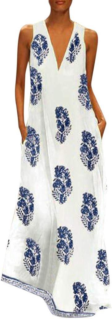AODONG Maxi Dress for Women.Womens Plus Size Long Maxi Dresses Summer Casual Boho V Neck Sleeveless Loose Maxi Dress