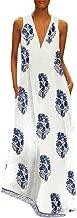 jin&Co Women's Maxi Dresses 2019 Summer Printed Vintage Sleeveless V-Neck Tassel A-Line Casual Long Dress