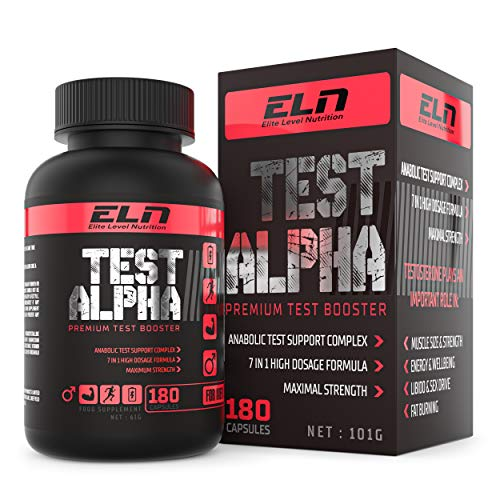 Test Alpha - High Strength Testosterone Supplements for Men, Testosterone Booster, Metabolism Booster and Fat Burner for Muscle Growth and Libido with ZMA, Tribulus Terrestris, Fenugreek & Forskholin