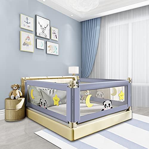 Barrera de cama, 150 cm, rejilla de protección para cama infantil, portátil, apta para camas infantiles, camas de padres, Safety 1st, color gris
