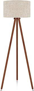 LEPOWER Tripod Floor Lamp, Mid Century Modern Standing Light, E26 Lamp Base, Flaxen Lamp Shade, Wood Floor Reading Lamp for Living Room, Bedroom, Study Room and Office