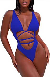 bbf3461333 Sovoyontee Women Sexy High Cut Out Bikini One Piece Swimsuits Thong Monokini