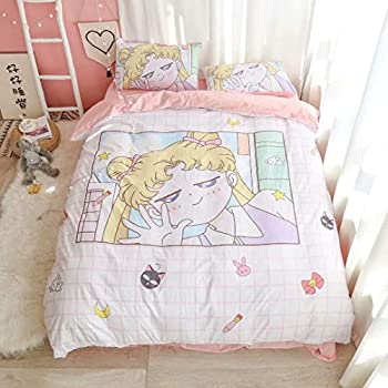 BLUU Cartoon Kids Duvet Cover Bed Set for Girls 3 Peices Soft Anime Bedding Sheet Set with Pillowcase Single for Twin/Full