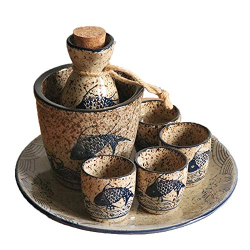 Sake Set of 7 Pieces Japanese Style Traditional Porcelain Crafts with Warmer Black Ceramic for Home