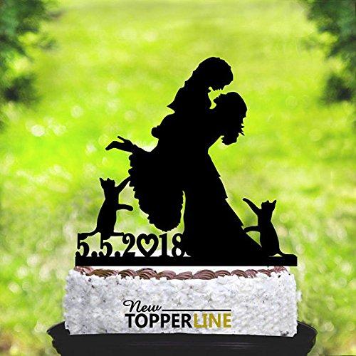 Lesbiana con dos gatos, personalizado para decoración de tartas de boda con fecha, silueta con gatos, bodas, lesbianas, dama y dama, decoración para tartas, gatos
