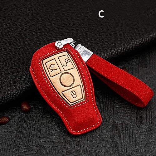SDFGDFGD Soporte Remoto Accesorios Fundas Funda de Cuero para Llave de Coche Funda para Llavero, para Mercedes Benz CLS CLA GL R SLK AMG ABCs ClaseA-Rojo