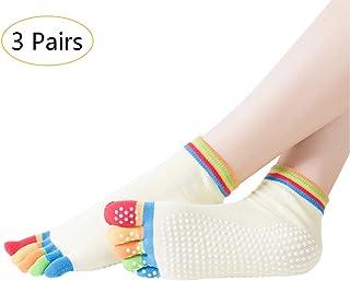 Mujer Calcetines de Cinco Dedos Yoga - Antideslizantes Cómodo Calcetín Pilates Barra Ballet Danza Calcetines