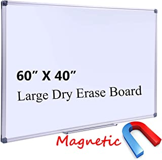 Large 60 x 40-in Magnetic Dry Erase Board with Pen Tray| Wall-Mounted Aluminum Message Presentation Memo White Board for Office Home and School (60