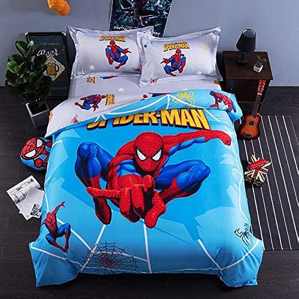 EVDAY 3D Cartoon Spider Man Bedding For Boys 100 Cotton Marvel Bedding For Kids Including 1Duvet Cover 1Flat Sheet 2Pillowcases Queen Full Twin Size