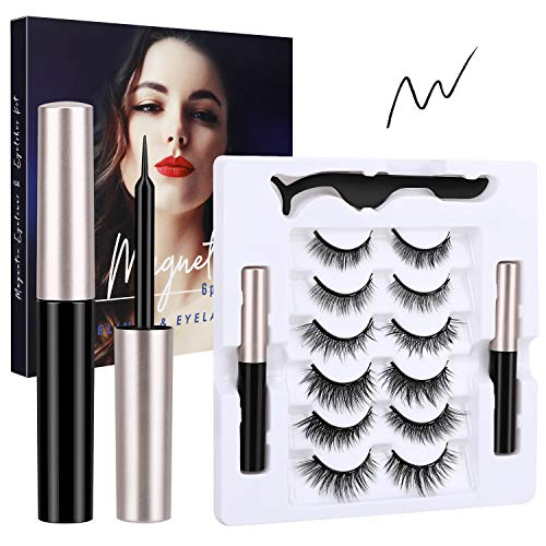 Magnetic Eyelashes with Eyeliner, Nivlan Upgraded 6 Pairs 3D Reusable Magnetic False Eye Lashes & 2 Tubes Waterproof Eyeliner Kit for Natural Look, No Glue Need