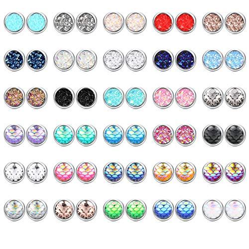 YADOCA 30 pairs Druzy Studs Earrings For Women Men Mermaid Scale Pierced Earrings Stainless Steel Round Cabochons Bezel Earring Set 10mm