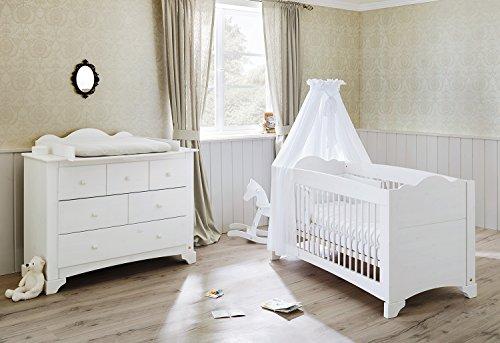 Pinolino 091642B 2-Teilig, Kinderbett und Breite Wickelkommode mit Wickelaufsatz, Kiefer Massiv, 140 X 70 cm, weiß lasiert